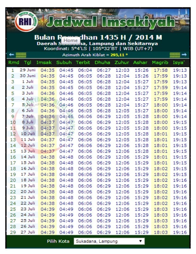 Jadwal imsyakiyah sukadana lampung 2014