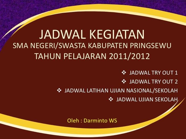 JADWAL KEGIATANSMA NEGERI/SWASTA KABUPATEN PRINGSEWU     TAHUN PELAJARAN 2011/2012                                JADWAL ...