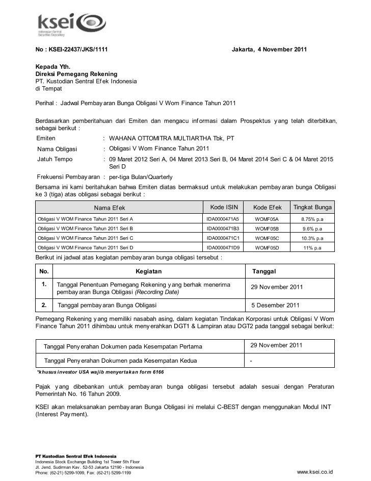 Jadwal pembayaran bunga obligasi v wom finance tahun 2011