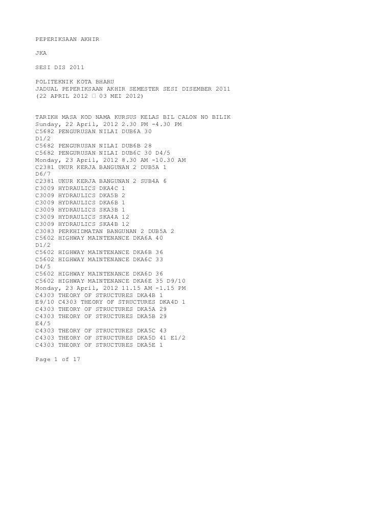 PEPERIKSAAN AKHIRJKASESI DIS 2011POLITEKNIK KOTA BHARUJADUAL PEPERIKSAAN AKHIR SEMESTER SESI DISEMBER 2011(22 APRIL 2012 –...