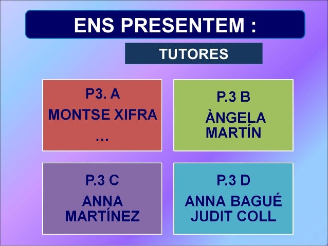 ENS PRESENTEM : TUTORES