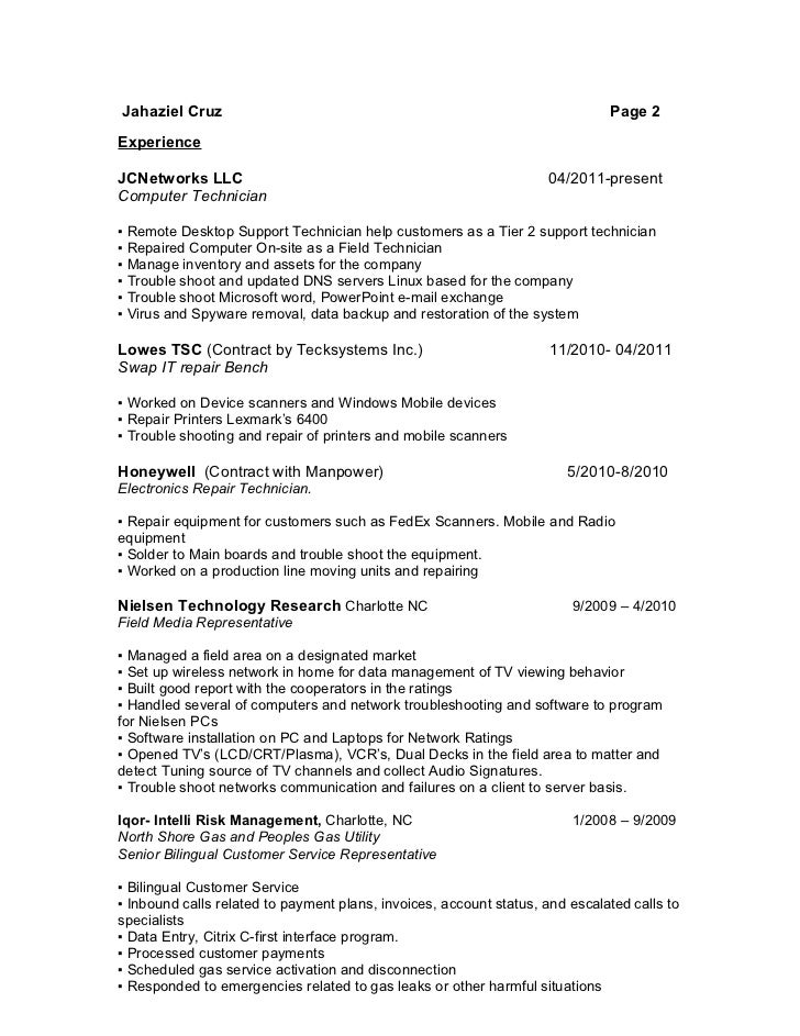 it support technician resumes