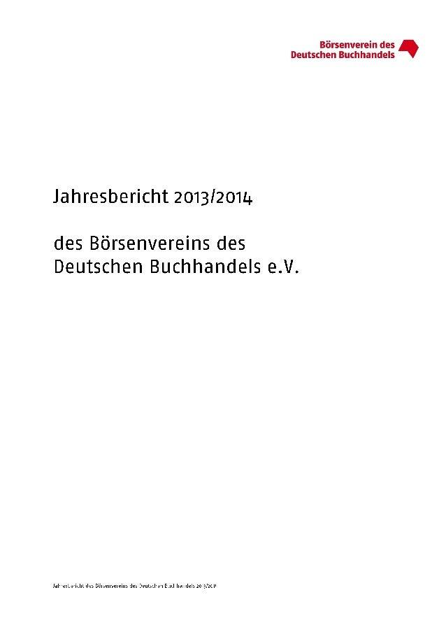 Börsenverein: Jahresbericht 2013/14