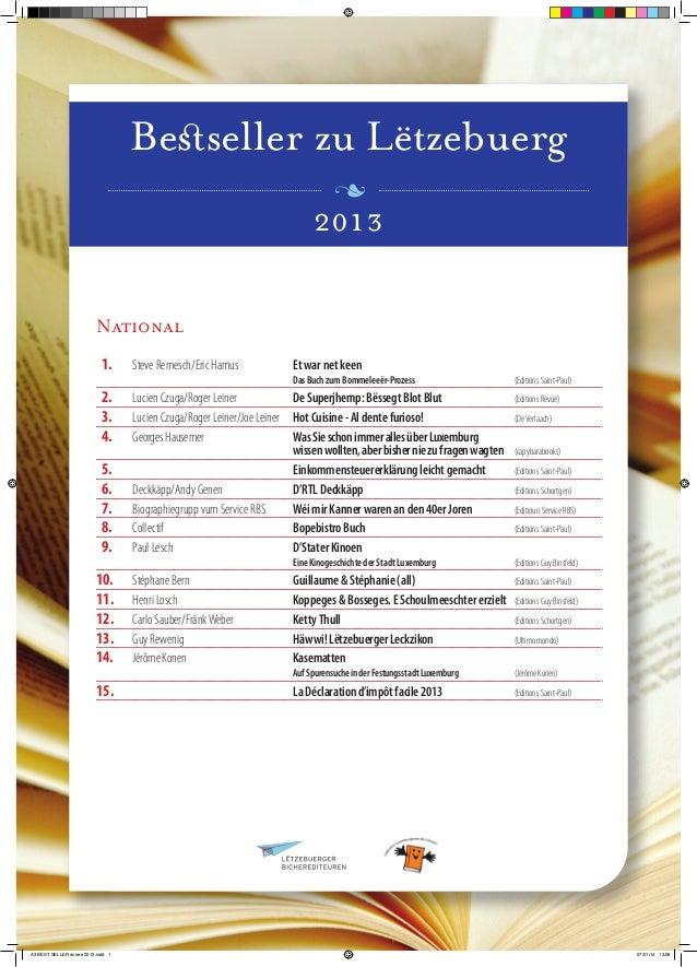 Besseller zu Lëtzebuerg 2013 National  1.  Steve Remesch/Eric Hamus    2.  Lucien Czuga/Roger Leiner   3.  L...