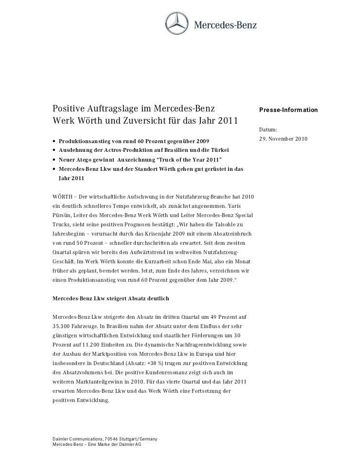 Positive Auftragslage im Mercedes-Benz                                            Presse-InformationWerk Wörth und Zuversi...