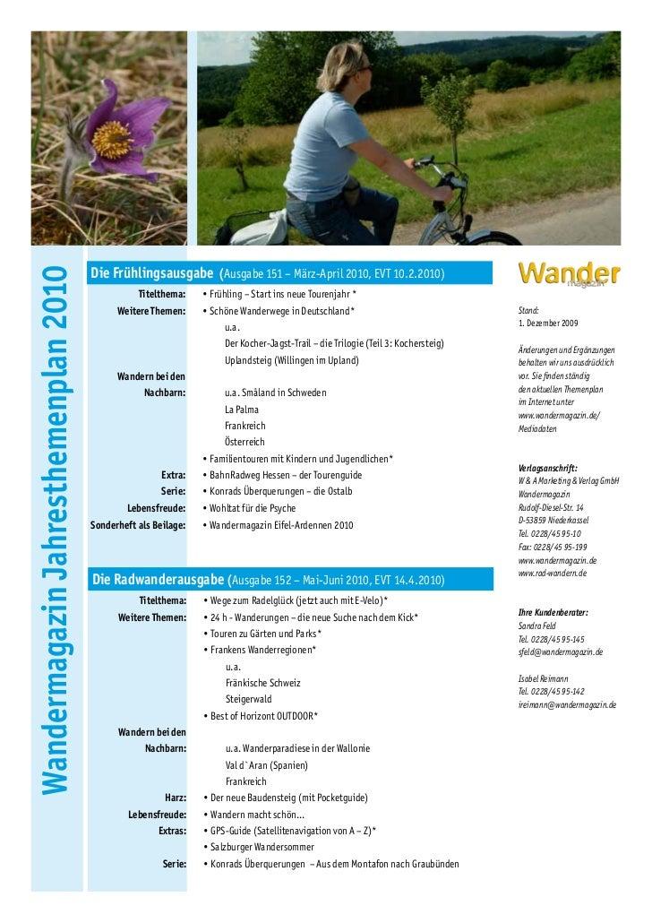 Die Frühlingsausgabe (Ausgabe 151 – März-April 2010, EVT 10.2.2010)Wandermagazin Jahresthemenplan 2010                    ...