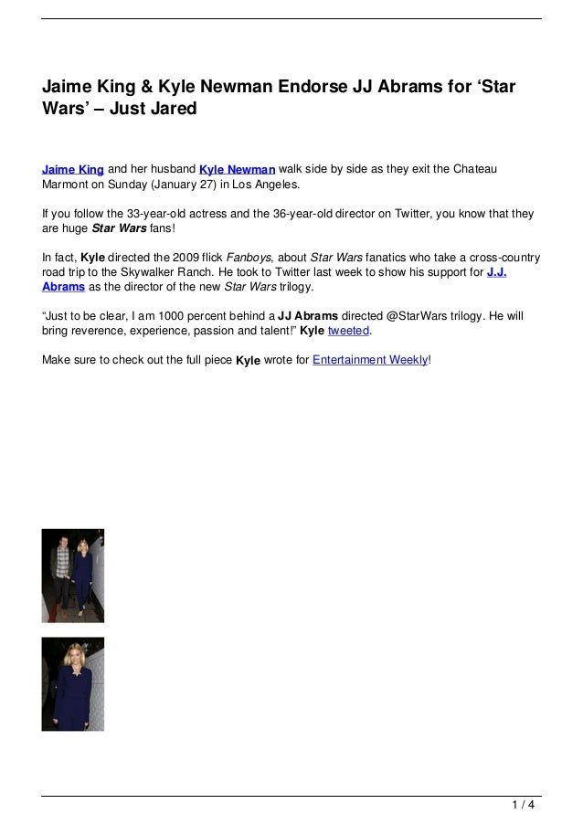 Jaime King & Kyle Newman Endorse JJ Abrams for 'Star Wars' – Just Jared