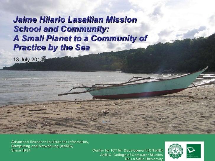 Jaime hilario lasallian mission school and community