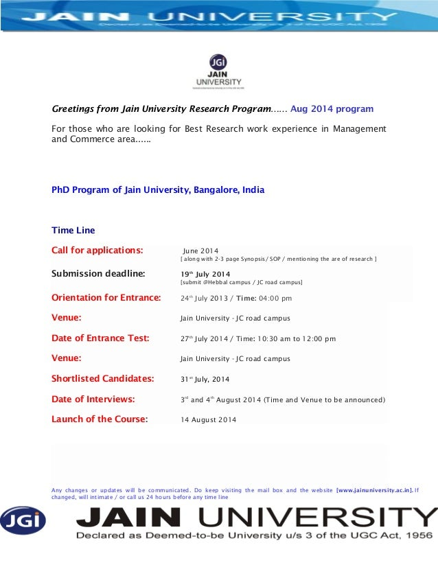 Greetings from Jain University Research Program…… Aug 2014 program For those who are looking for Best Research work experi...