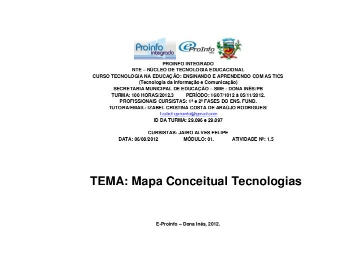 PROINFO INTEGRADO             NTE – NÚCLEO DE TECNOLOGIA EDUCACIONALCURSO TECNOLOGIA NA EDUCAÇÃO: ENSINANDO E APRENDENDO C...
