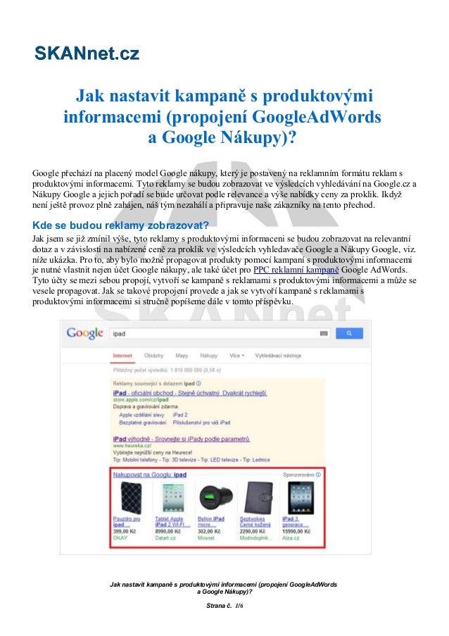 Jak nastavit kampaně s produktovými informacemi (propojení AdWords a Google Nákupy)?