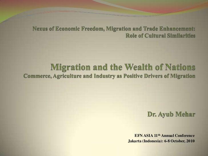 Jakarta, Presentation On Nexus Of Economic Freedeom, Migration