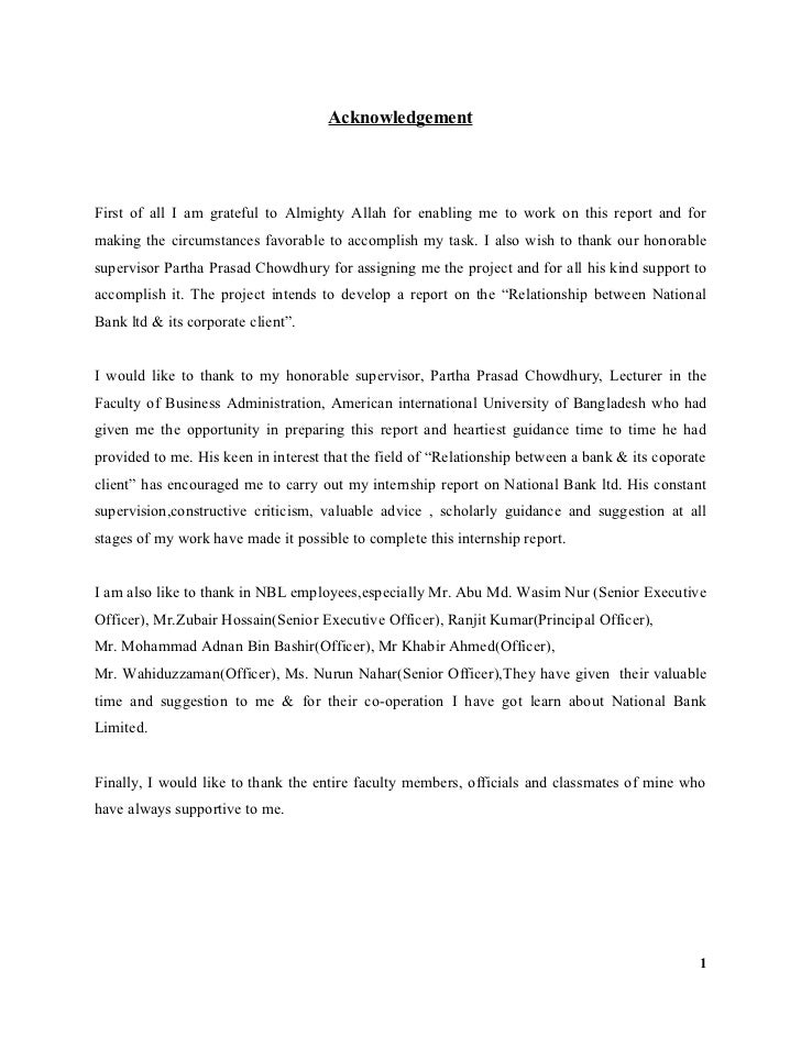 AcknowledgementFirst of all I am grateful to Almighty Allah for enabling me to work on this report and formaking the circu...