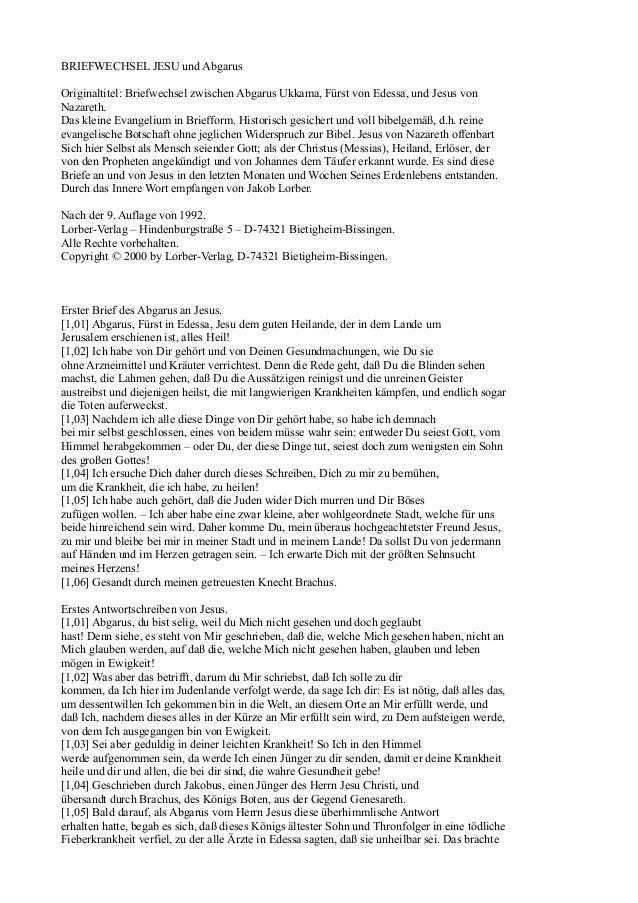 BRIEFWECHSEL JESU und AbgarusOriginaltitel: Briefwechsel zwischen Abgarus Ukkama, Fürst von Edessa, und Jesus vonNazareth....
