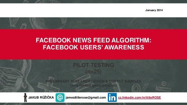 Facebook News Feed Algorithm: Facebook User Awareness