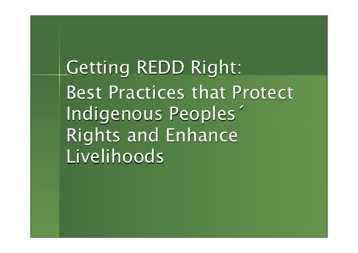 Getting REDD Right: Best Practices that Protect Indigenous Peoples´ Rights and Enhance Livelihoods