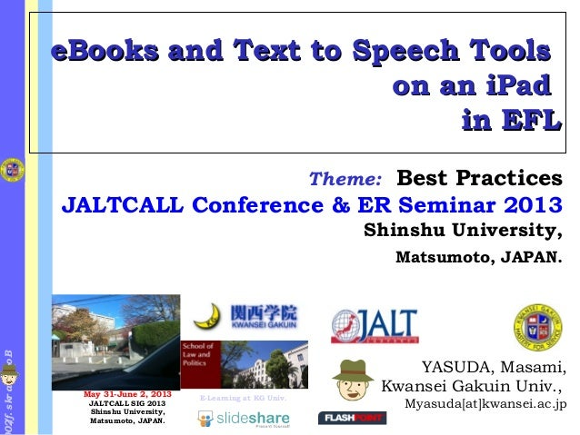 Bookmarks.f/20eBooks and Text to Speech ToolseBooks and Text to Speech Toolson an iPadon an iPadin EFLin EFLYASUDA, Masami...