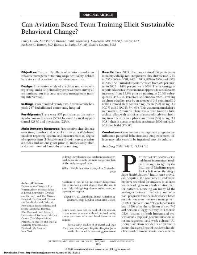 ORIGINAL ARTICLE              Can Aviation-Based Team Training Elicit Sustainable              Behavioral Change?         ...
