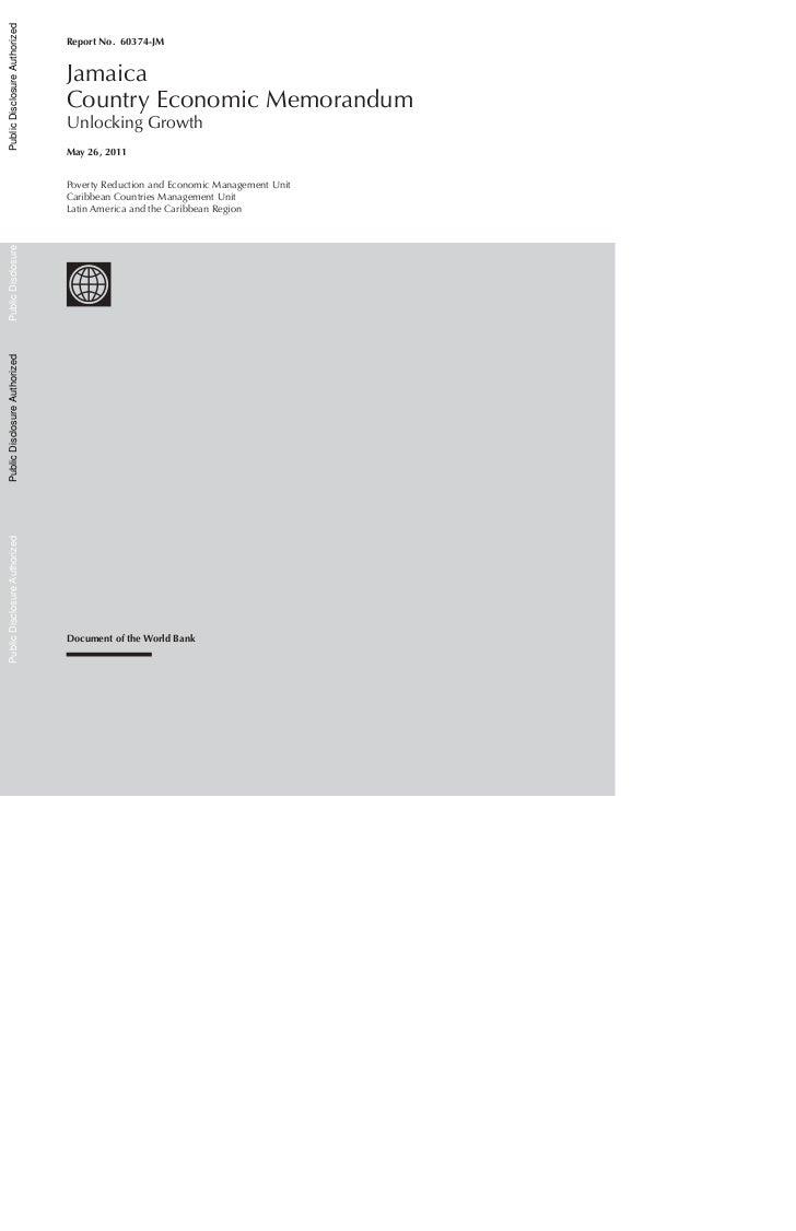 Public Disclosure Authorized                               Report No. 60374-JM                               Jamaica      ...