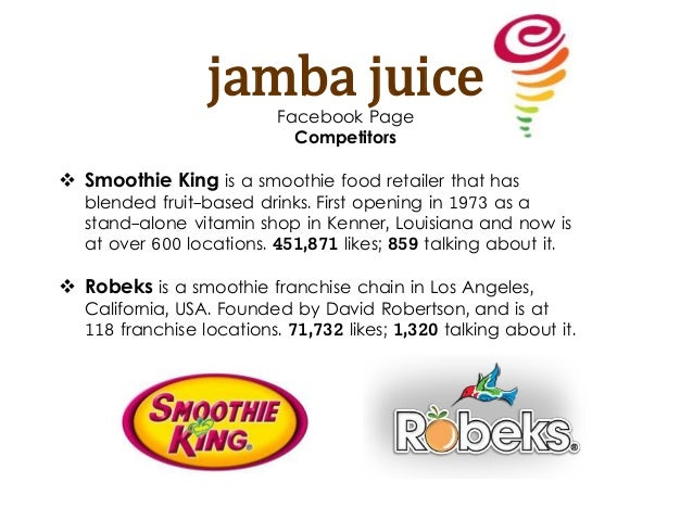 jamba juice external analysis Jamba external and internal environmental analysis paper introduction with the jamba juice forging ahead in its business, it is been faced with various challenges.