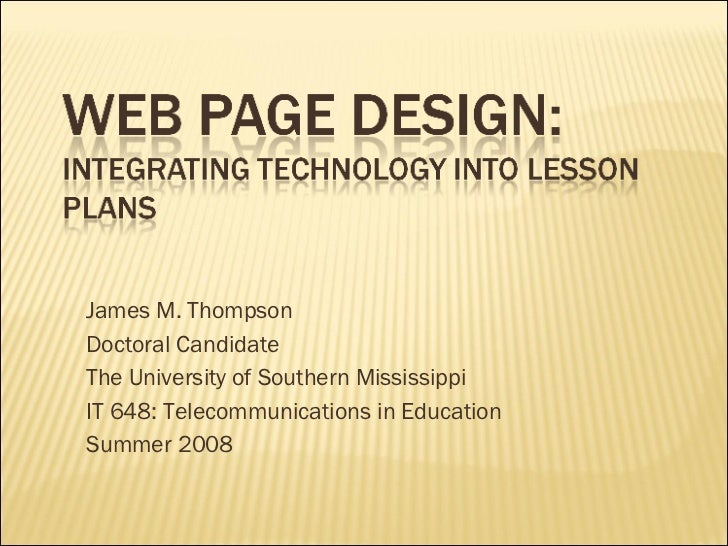 James M Thompson Free Web Page Design Ppt