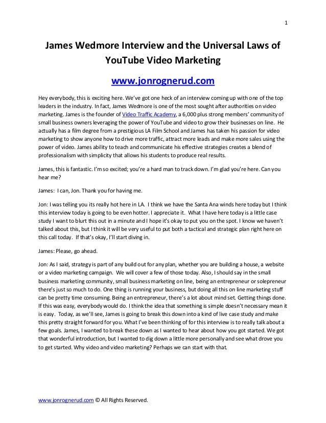 1   James Wedmore Interview and the Universal Laws of             YouTube Video Marketing                                w...