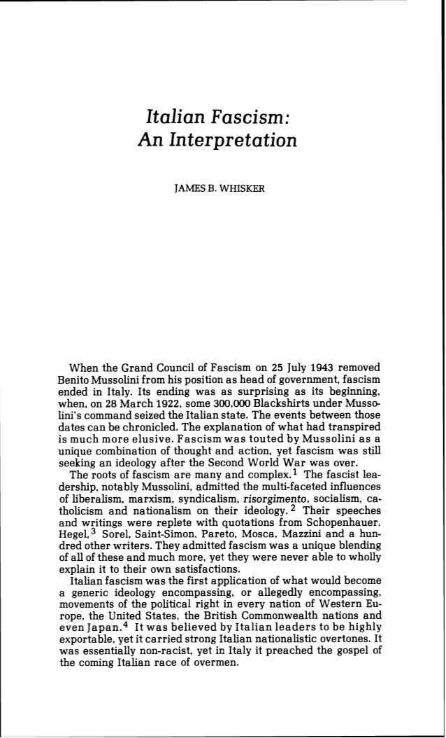 James b. whisker   italian fascism an interpretation - journal of historical review volume 4 no. 1