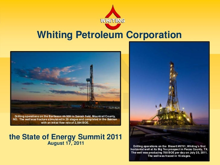 Whiting Petroleum Corporation<br />Drilling operations on the Bartleson 44-30H in Sanish field, Mountrail County, ND.  The...