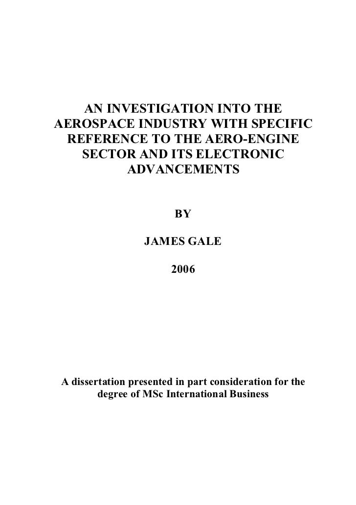 AN INVESTIGATION INTO THEAEROSPACE INDUSTRY WITH SPECIFIC REFERENCE TO THE AERO-ENGINE   SECTOR AND ITS ELECTRONIC        ...