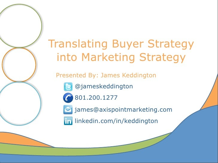 Translating Buyer Strategy  into Marketing Strategy Presented By: James Keddington      @jameskeddington      801.200.1277...