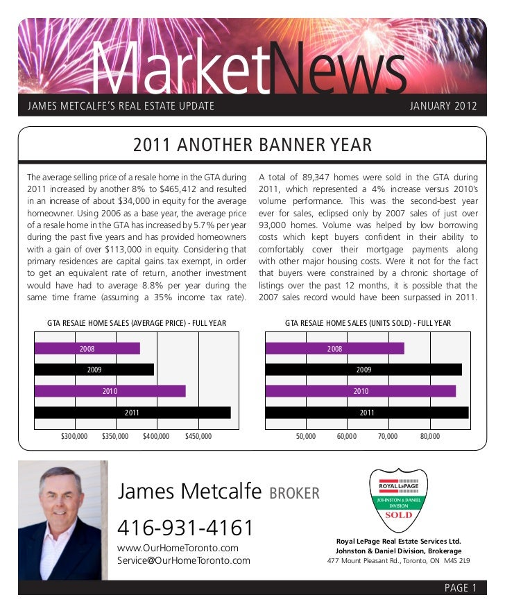 MarketNewsJAMES METCALFE'S REAL ESTATE UPDATE                                                                         JANU...
