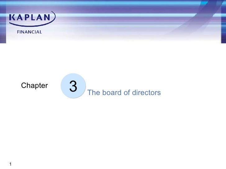 3 Chapter The board of directors