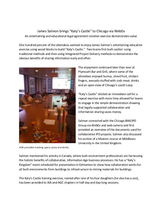 "James Salmon brings ""Katy's Castle"" to Chicago via WebEx An entertaining and educational legal agreement creation exercise..."