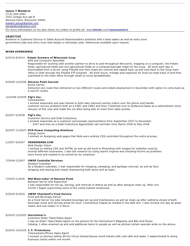 james t waisbrot best resume as of july 2010 material handler resume skills unforgettable
