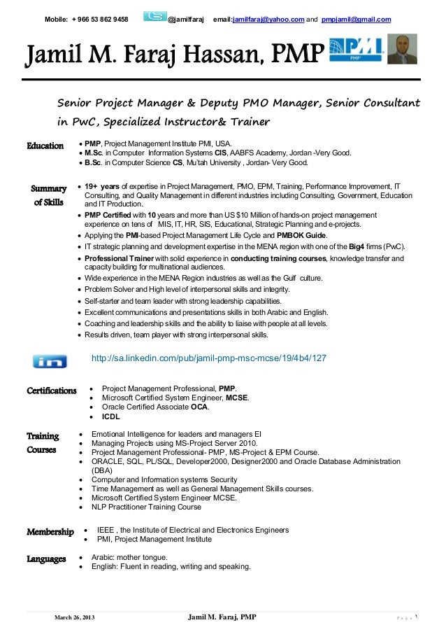 Sample Pmp Project Manager Resume - Vosvete.Net