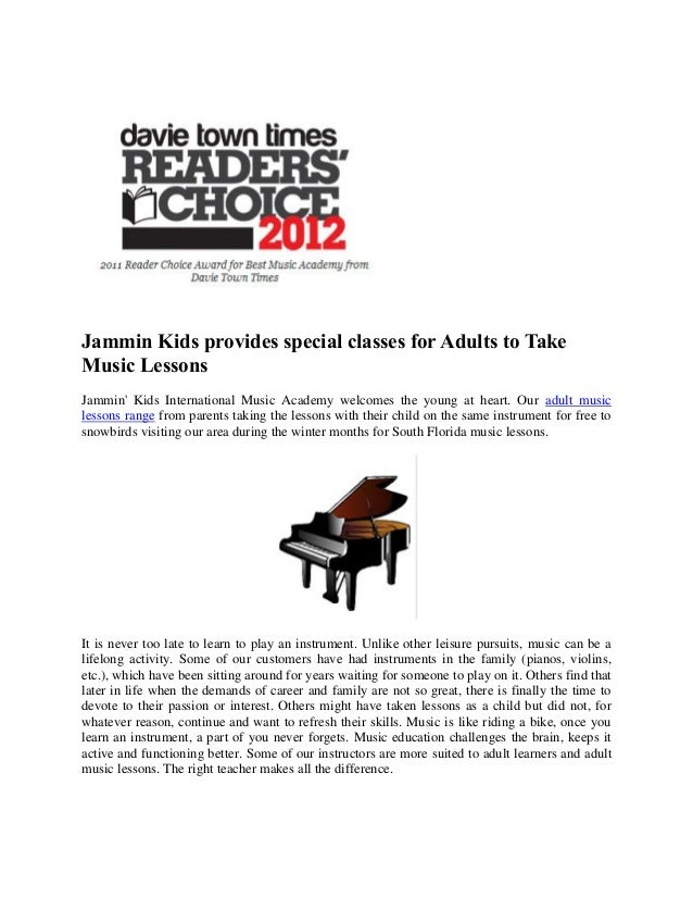 Jammin Kids provides special classes for Adults to TakeMusic LessonsJammin Kids International Music Academy welcomes the y...
