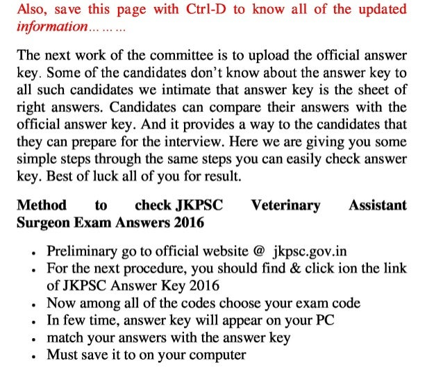 Jammu & kashmir psc exam answer key 2016 solution key for veterinary assistant surgeon jobs & result