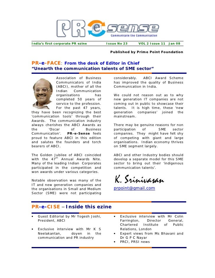 India's first corporate PR ezine          Issue No 23      VOL 2 Issue 11 Jan 08                                          ...