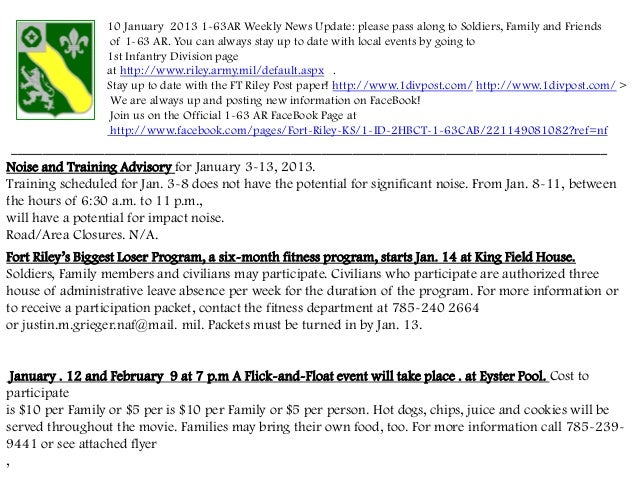 10 January 2013 1-63AR Weekly News Update: please pass along to Soldiers, Family and Friends                  of 1-63 AR. ...