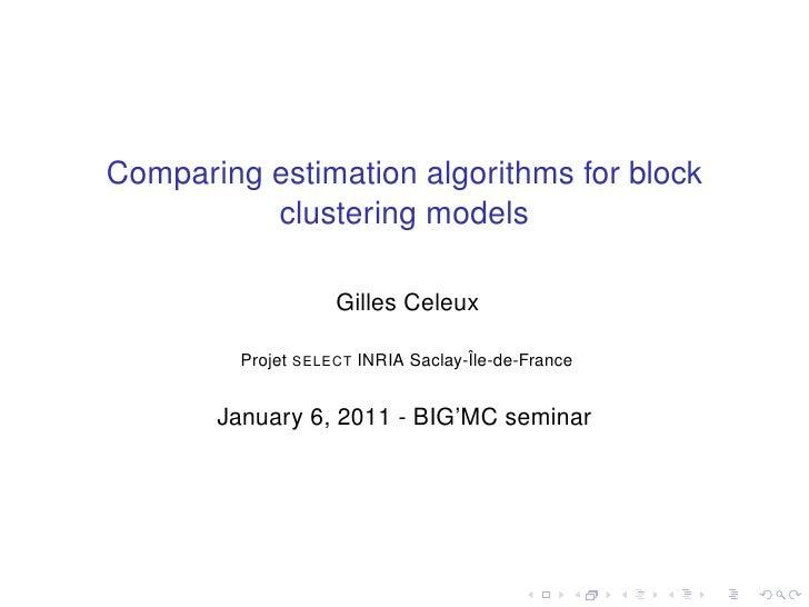 Comparing estimation algorithms for block clustering models