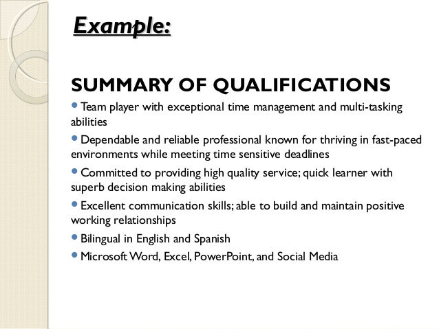 Job Qualifications Examples For Resume,Summary of Qualifications ...