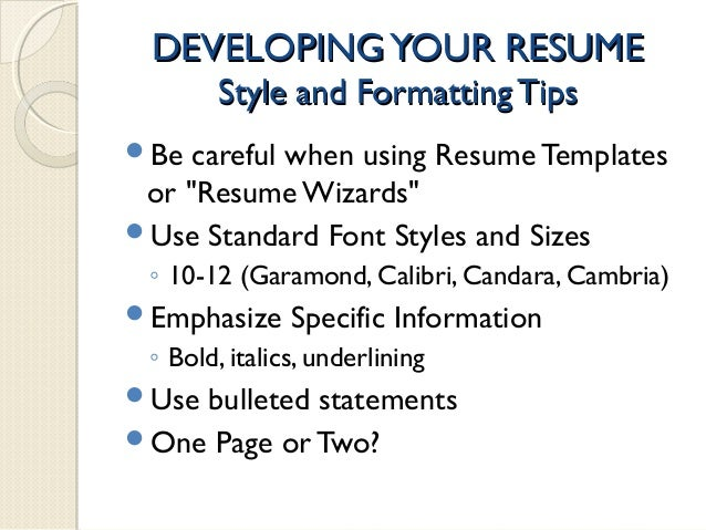jan 15 2015 developing a professional resume