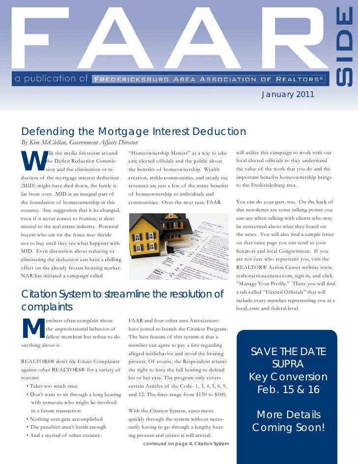 January 2011    Defending the Mortgage Interest Deduction By Kim McClellan, Government Affairs Director   W             hi...
