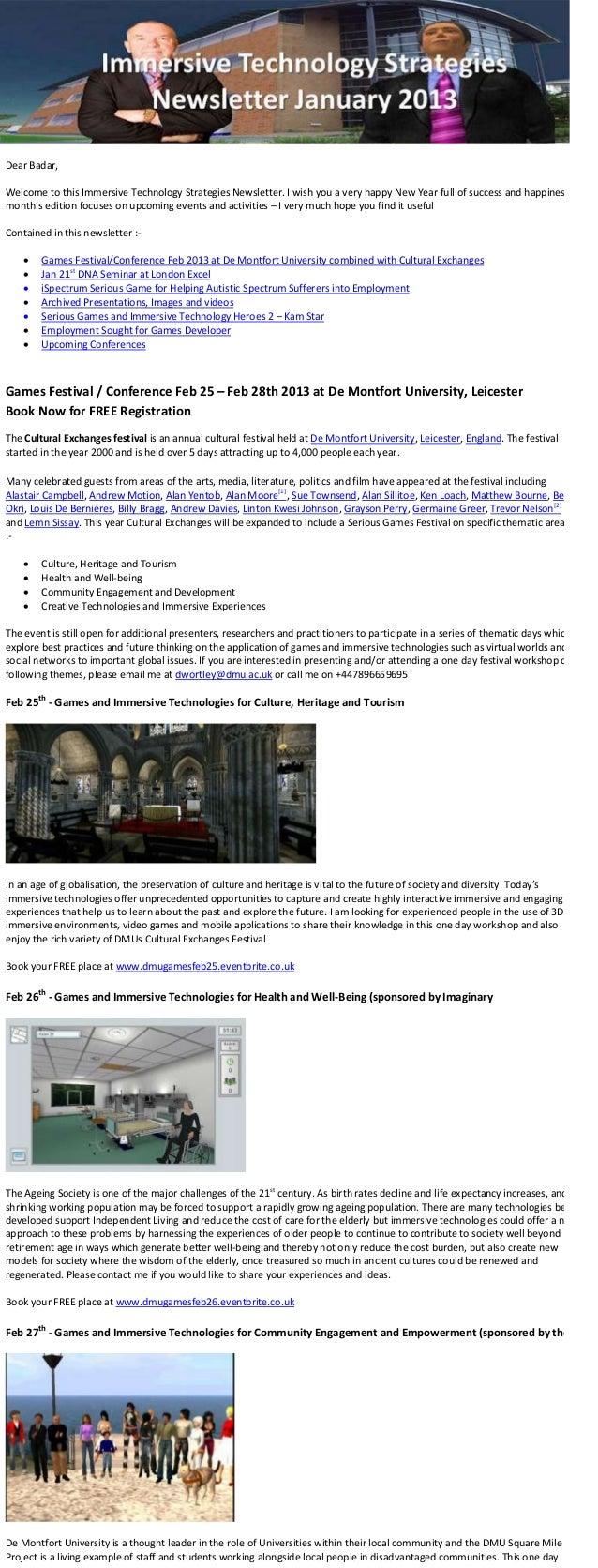 Immersive Techology Strategies Jan 2013 e newsletter