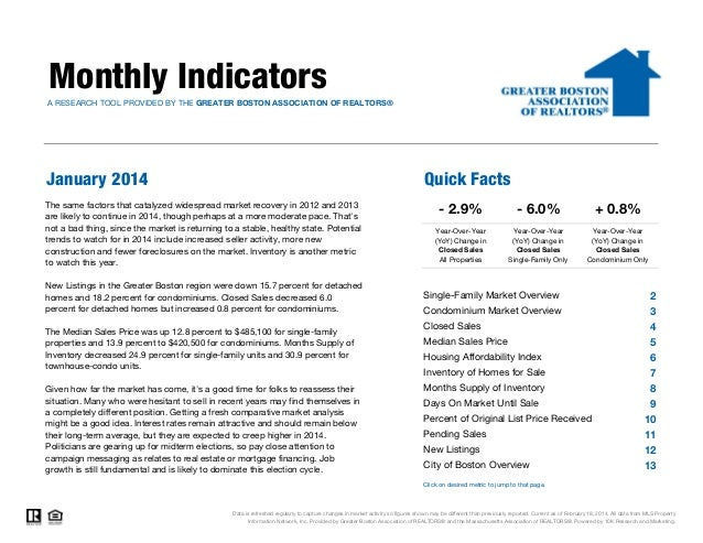 Monthly Indicators A RESEARCH TOOL PROVIDED BY THE GREATER BOSTON ASSOCIATION OF REALTORS®  January 2014  Quick Facts  The...