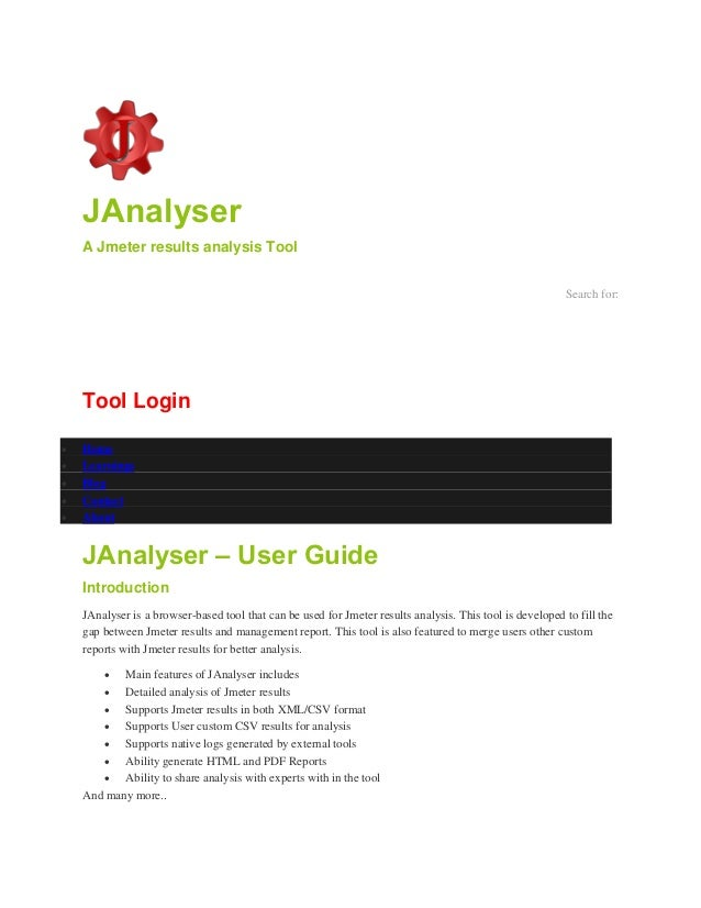 JAnalyser A Jmeter results analysis Tool Search for: Tool Login  Home  Learnings  Blog  Contact  About JAnalyser – Us...
