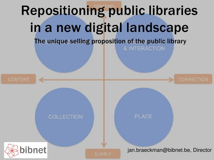 Repositioning public libraries in a new digital landscape<br />The unique selling proposition of the public library<br />j...