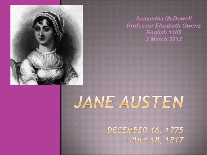 Samantha McDowell Professor Elizabeth Owens English 1102 2 March 2012