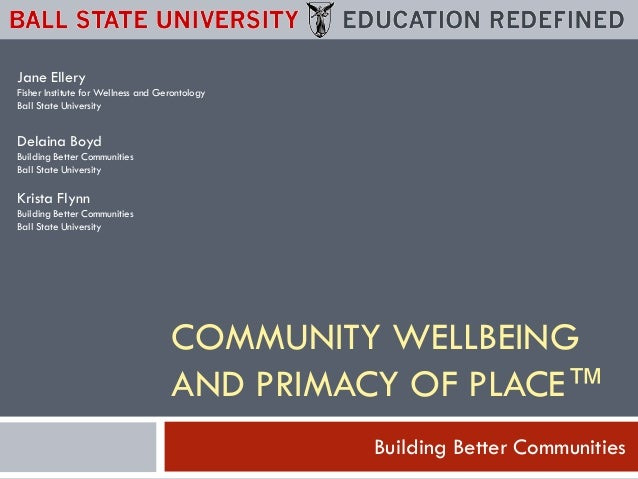 Jane Ellery Fisher Institute for Wellness and Gerontology Ball State University  Delaina Boyd Building Better Communities ...