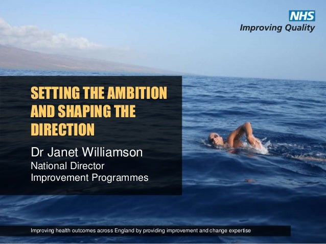 SETTING THE AMBITION AND SHAPING THE DIRECTION Dr Janet Williamson National Director Improvement Programmes Improving heal...
